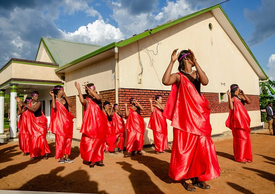 Traditional dancers crew welcoming the bride during introduction wedding in Rwanda